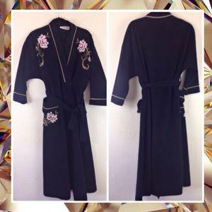 Vintage Vanity Fair Robe Black Flower Gold 80s S